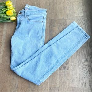 American Apparel light wash mid rise skinny jeans